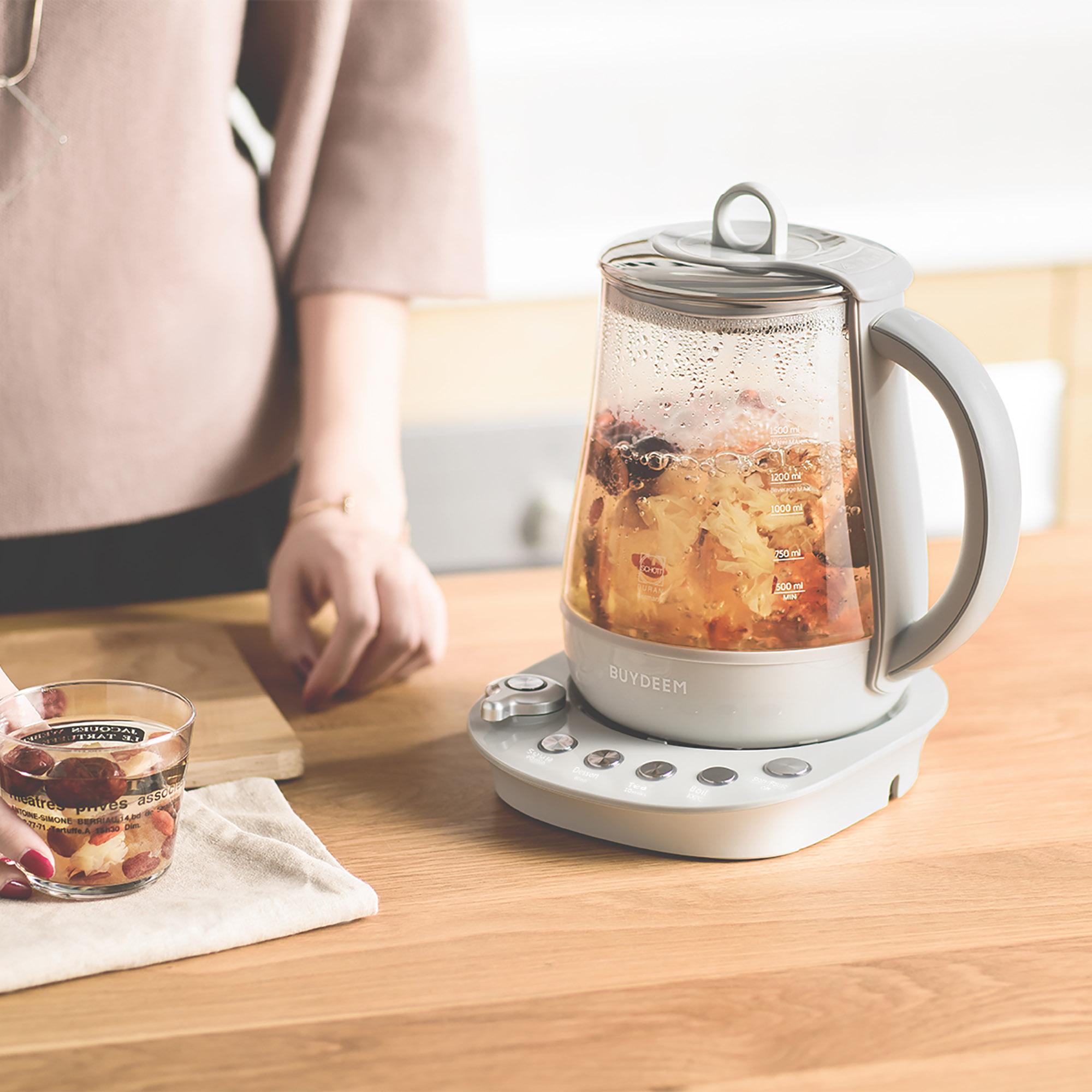 [US Direct] Original BUYDEEM K2683 Health-Care Beverage Tea Maker and Kettle, 9-in-1 Programmable Brew Cooker Master (1.5 L, Gray) Grey