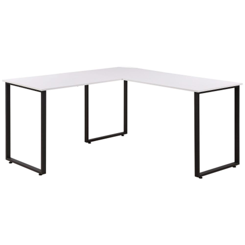 [US Direct] Metal Frame L-shaped Desk Home Office Computer  Desk Adjustable Footpads Desk white