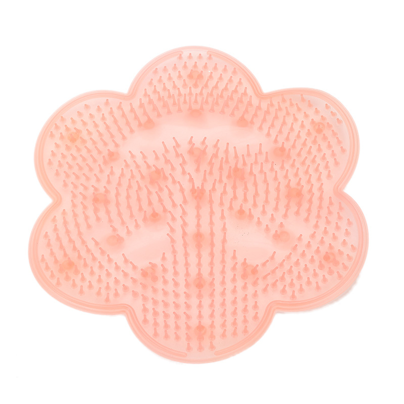 Nonslip Silicone Removes Dead Skin Lazy Bath Massage Pad with Suction Cup Pink_Diameter 28.5