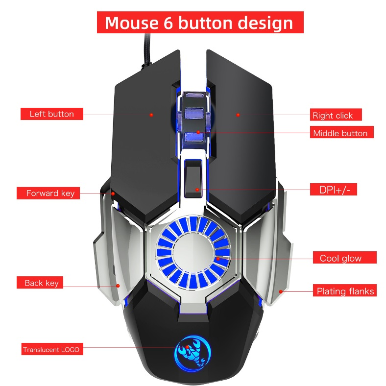 7 Colors Change Wired Gaming Mouse 6 Modes Adjustable Ergonomic Computer Mouse Gamer Mice 6400dpi black