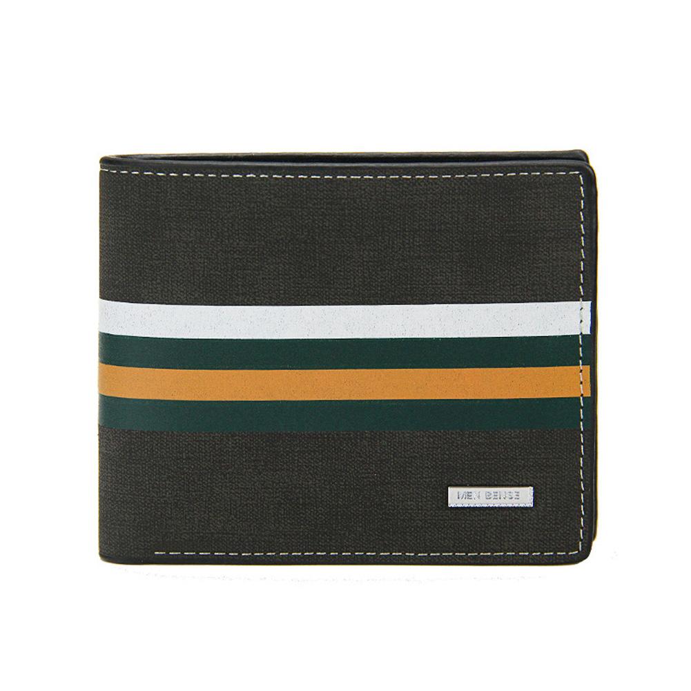 Men Wallets Short Horizontal Multi - Functional Large Capacity PU Leather Wallet black