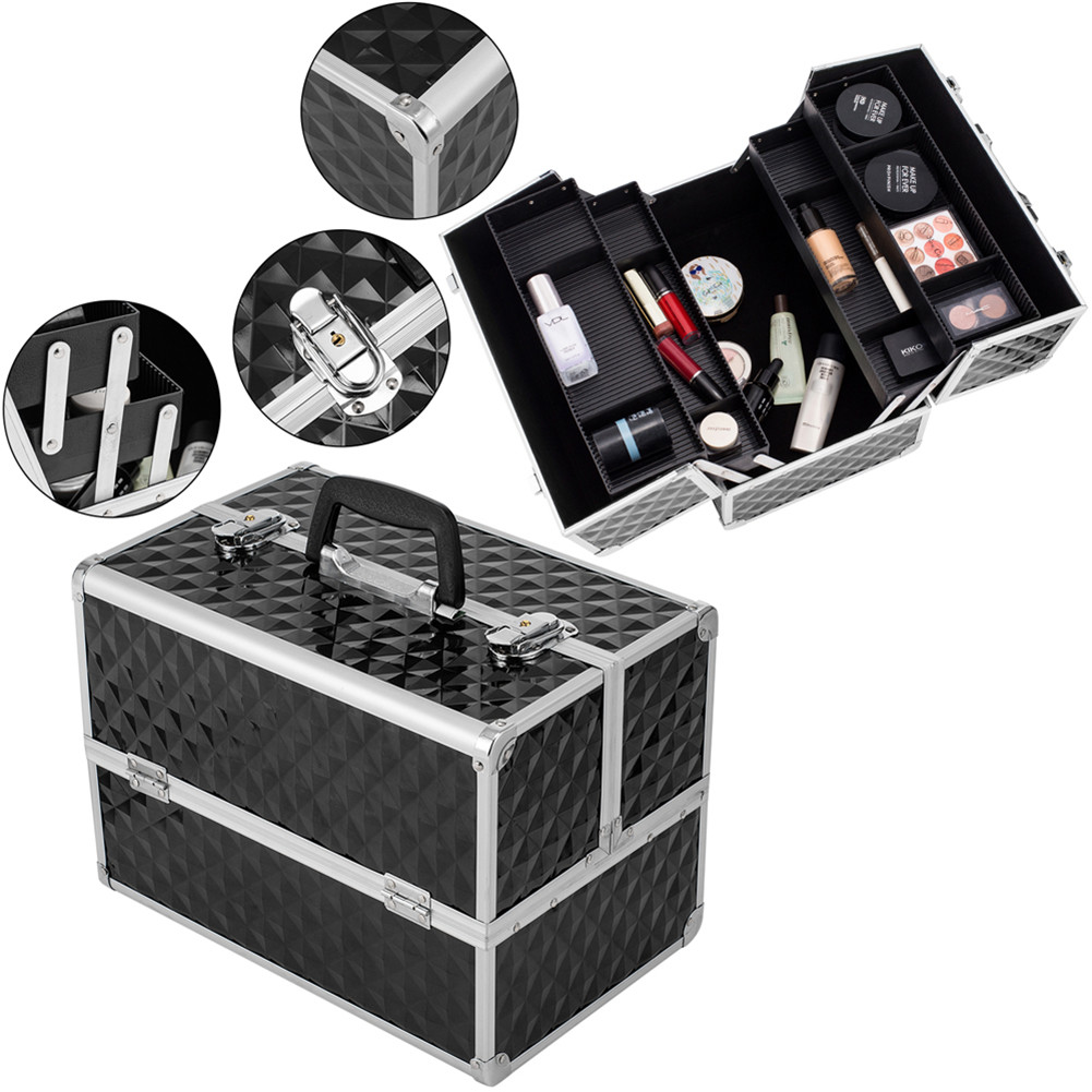 [US Direct] Professional Travel Beauty Cosmetic Trolley Box Double-open Makeup Storage Box B-dy0124 Cosmetic Case Silver