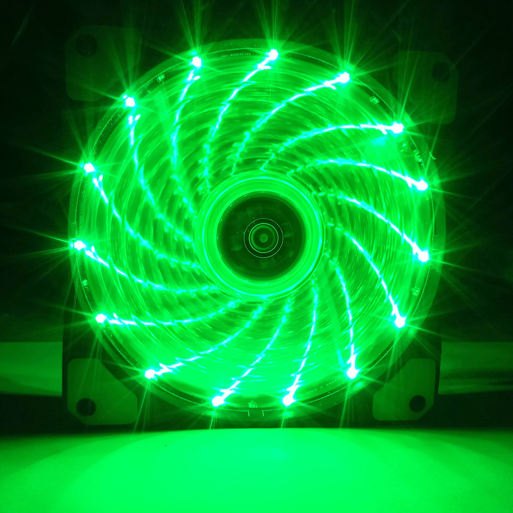 12CM 120mm Red 15 LEDs Lights Fan Cooler Case PC Computer Cooling Tool green