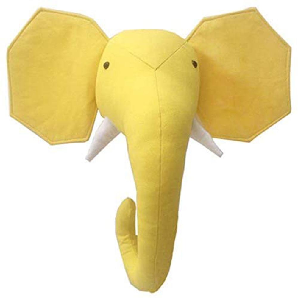 Cartoon Animal Head Shape Stuffed Wall Hanging Toys Kids Room Decoration Elephant