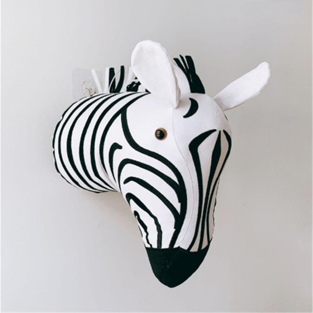 Cartoon Animal Head Shape Stuffed Wall Hanging Toys Kids Room Decoration zebra
