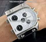 New Choice Oulm Man`s Fashion Watch with 3 Quartz Movement Dial Leather Band White by AHMET