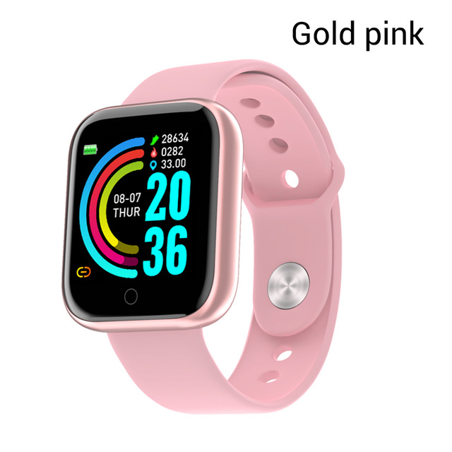 Y68 Smart Watch Waterproof Bluetooth Sport SmartWatch Support for iPhone Xiaomi Fitness Tracker Heart Rate Monitor Built-in 150mAh Battery USB Charging Gold pink