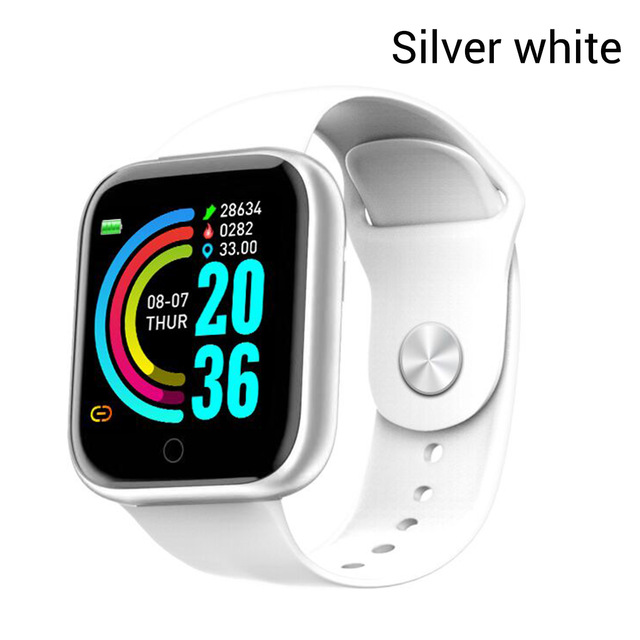 Y68 Smart Watch Waterproof Bluetooth Sport SmartWatch Support for iPhone Xiaomi Fitness Tracker Heart Rate Monitor Built-in 150mAh Battery USB Charging Silver white