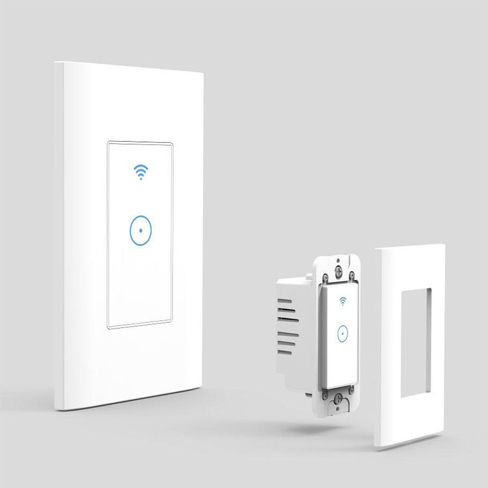 Smart Wifi Light Wall Switch Touch Remote Controller for Alexa Google Home Life US Plug white