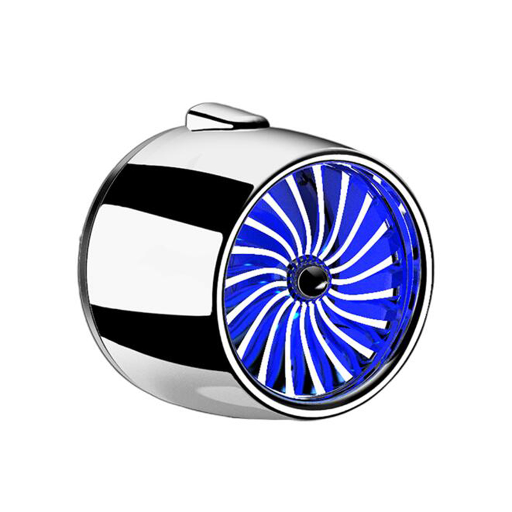 LED Scent Vent Decoration Clip On Alloy Diffuser Car Perfume Freshener Bright silver blue