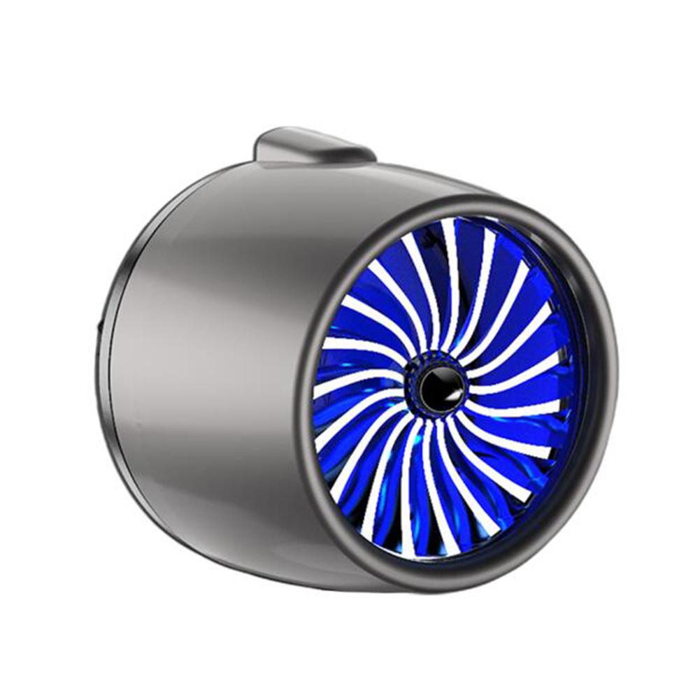 LED Scent Vent Decoration Clip On Alloy Diffuser Car Perfume Freshener Gray titanium blue