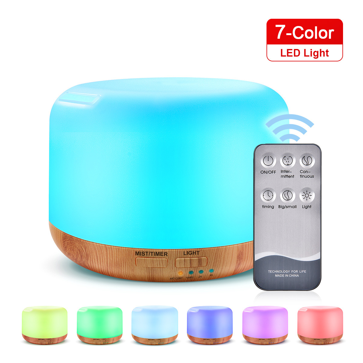 300ml Remote Control Wood Grain Household Fragrance Lamp Ultrasonic Mute Humidifier Light wood grain remote control_EU Plug