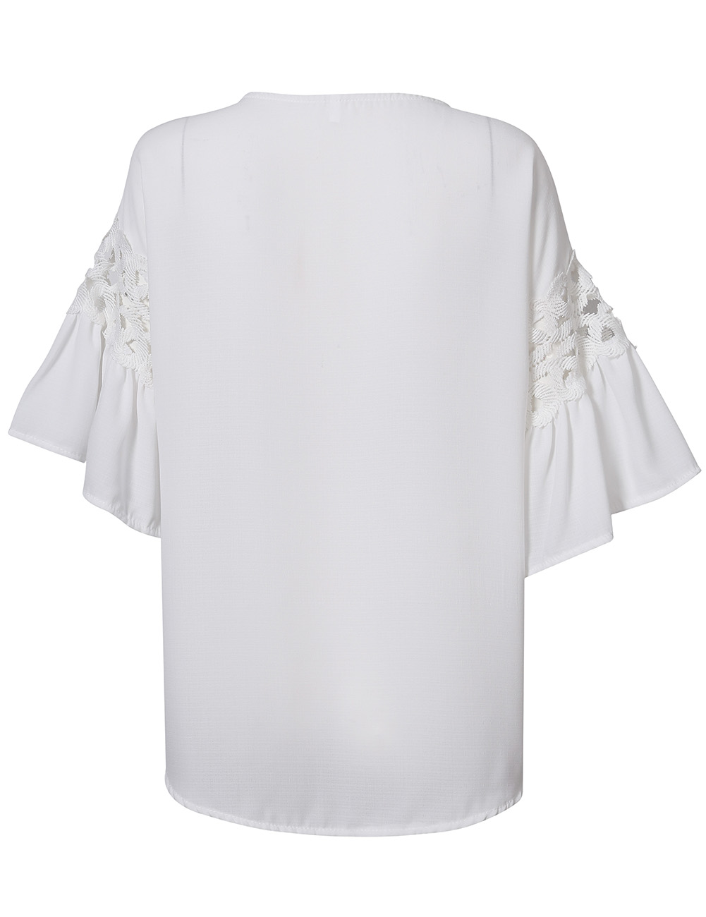 YesFashion Womens' Sweet Hollow Lace Trumpet Half Sleeve Loose Shirt Top Blouse
