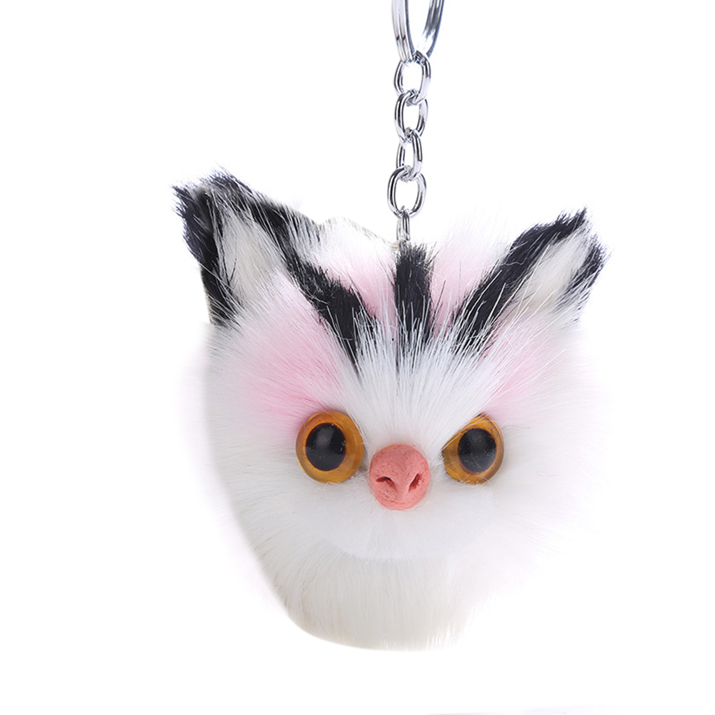 Metal Key Ring Faux Rabbit Hair Owl Fuzzy Ball Animal Cute Key Chain Pendant Ornament