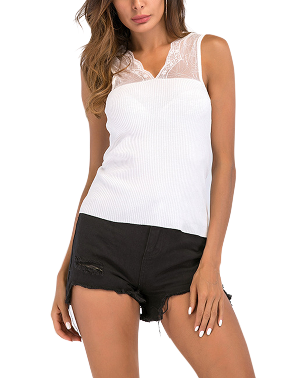 Women Fashionable V-Neck Lace Vest Elegant Sleeveless Tops Sexy Kintting Concise Tops