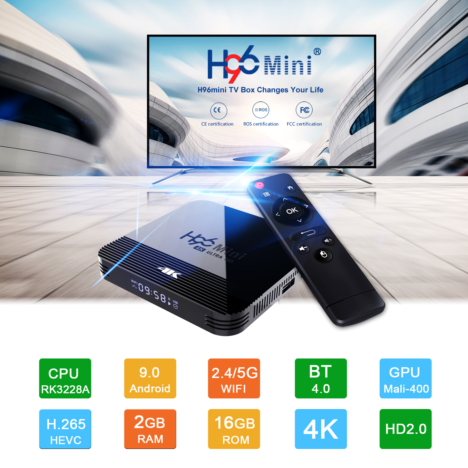 H96Mini STB H8 2G+16G 4K HD TV Set Top Box Rockchip RK3228A Support 2.4G /5G WiFi Android 9.0 Google Play  UK Plug