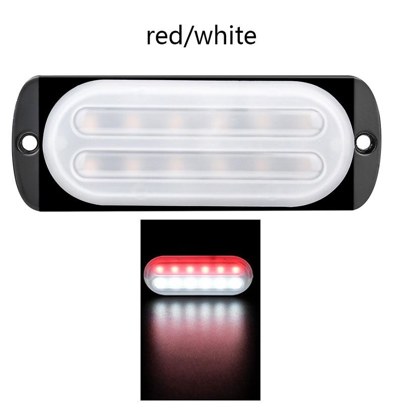 12-24V 12 LED Emergency Strobe Lights Trailers Lights Flashing Warning Truck Side Marker Lamp White+red