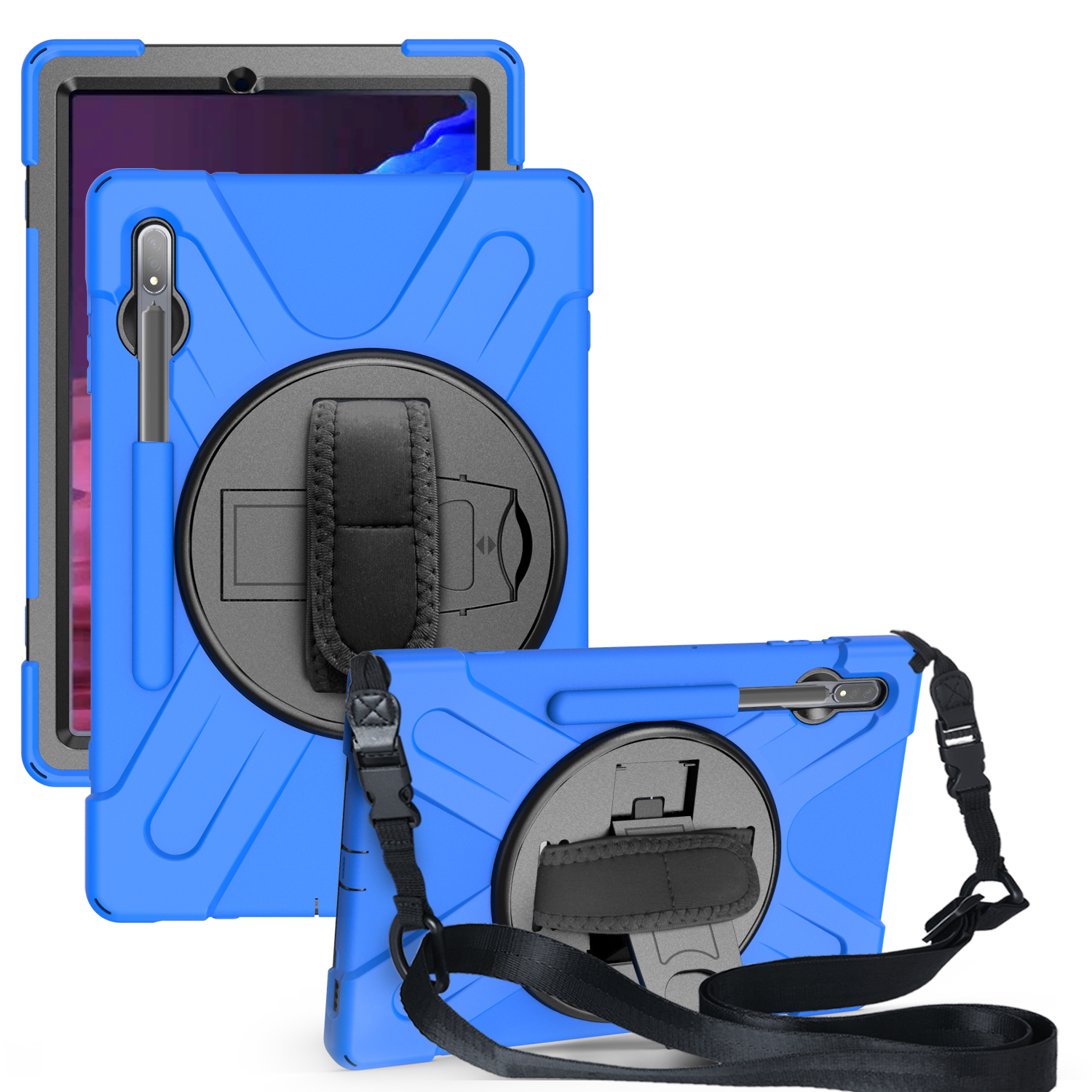 For Samsung Tab S7 T870 /Tab S7 Plus T970/T975 Protective Cover with Pen Slot Anti-fall Belt Holder + Wristband + Straps blue_Samsung Tab S7 Plus T970/T975