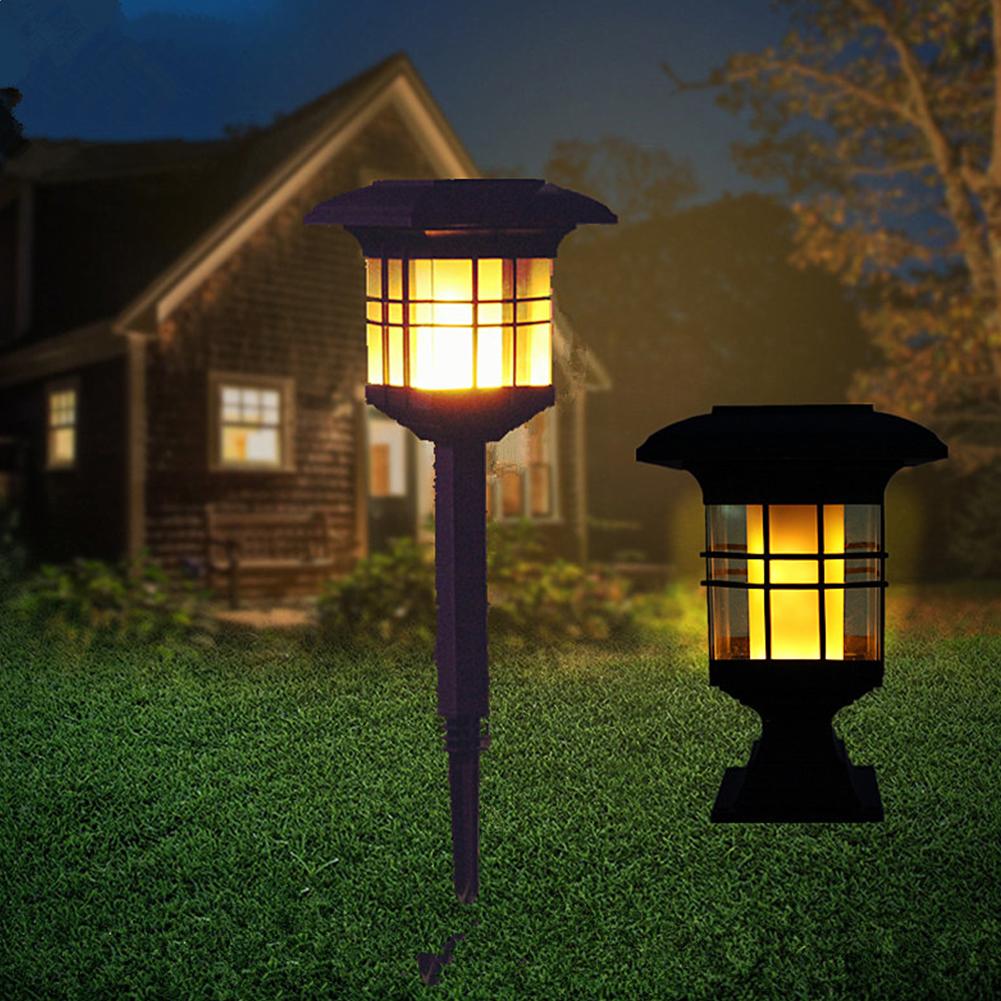 Solar Energy Flame Lamp Outdoor Waterproof Court Garden Villa Lawn Light LED Decorative Street Light black