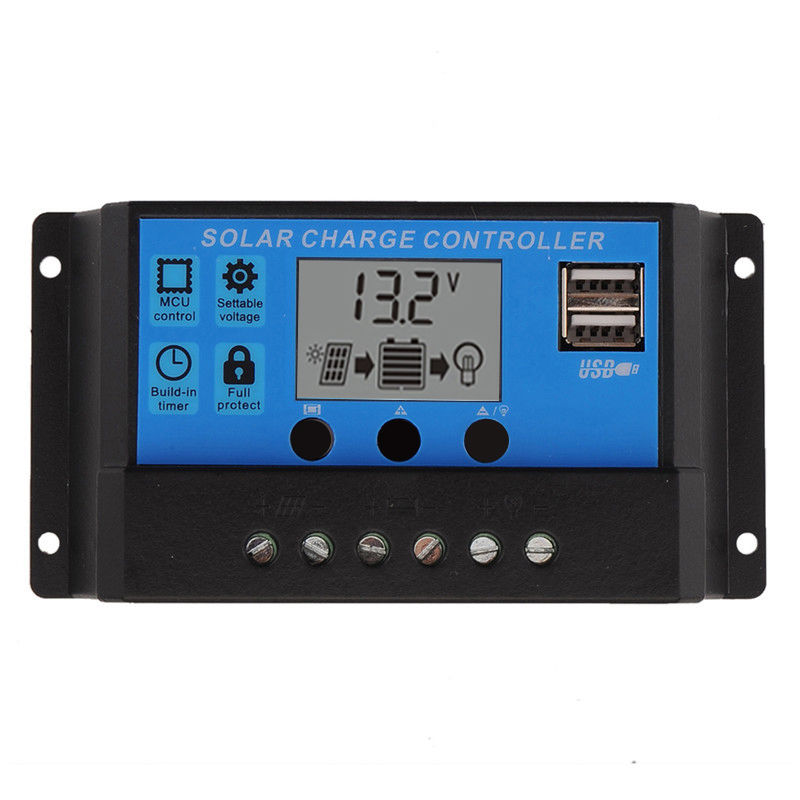 Dual USB PWM 10/20/30A Solar Charge Controller 12V/24V LCD Display Solar Panel Charge Regulator