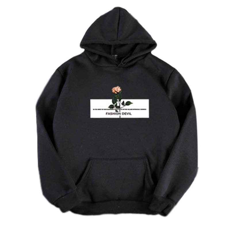 Women's Hoodies Autumn and Winter Pullover Thick Casual Fleece Long-sleeve Hooded Sweater black_L