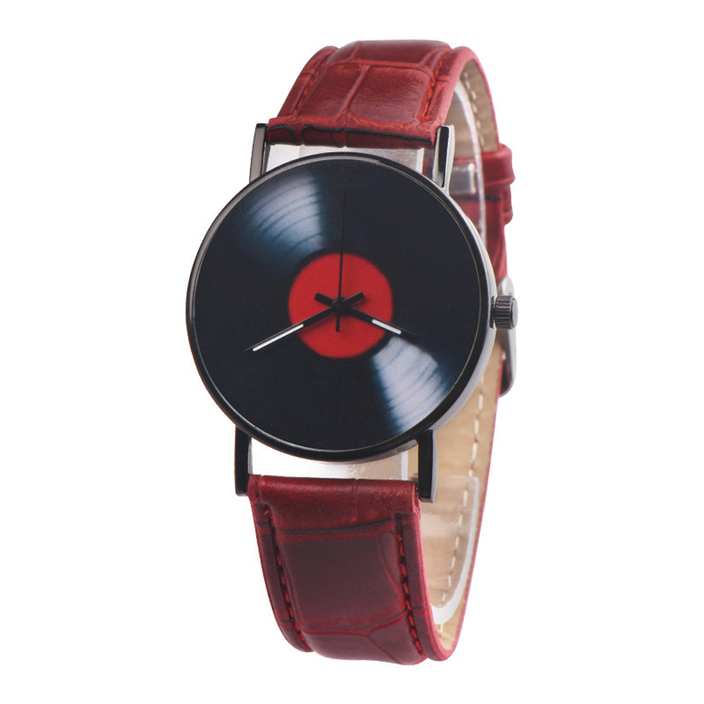Men's Wristwatch Simple Style  Record Modeling Fake Leather Quartz Watch red