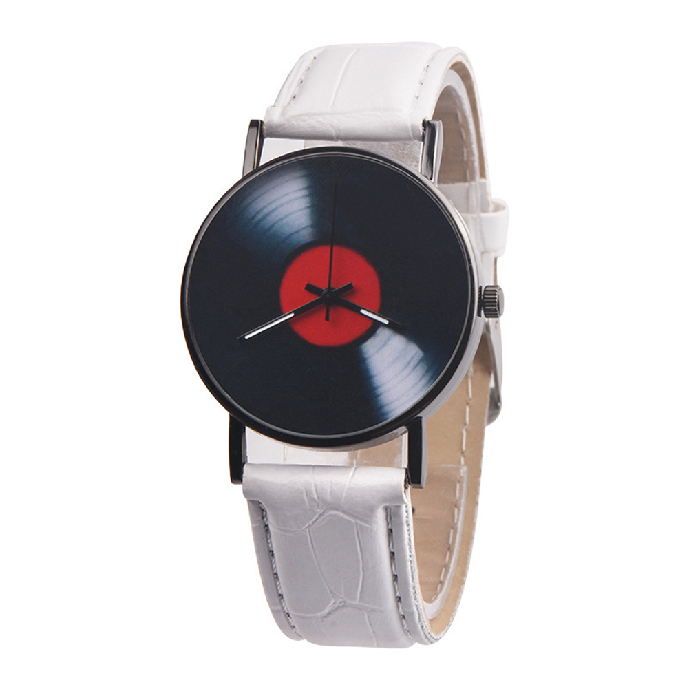 Men's Wristwatch Simple Style  Record Modeling Fake Leather Quartz Watch white