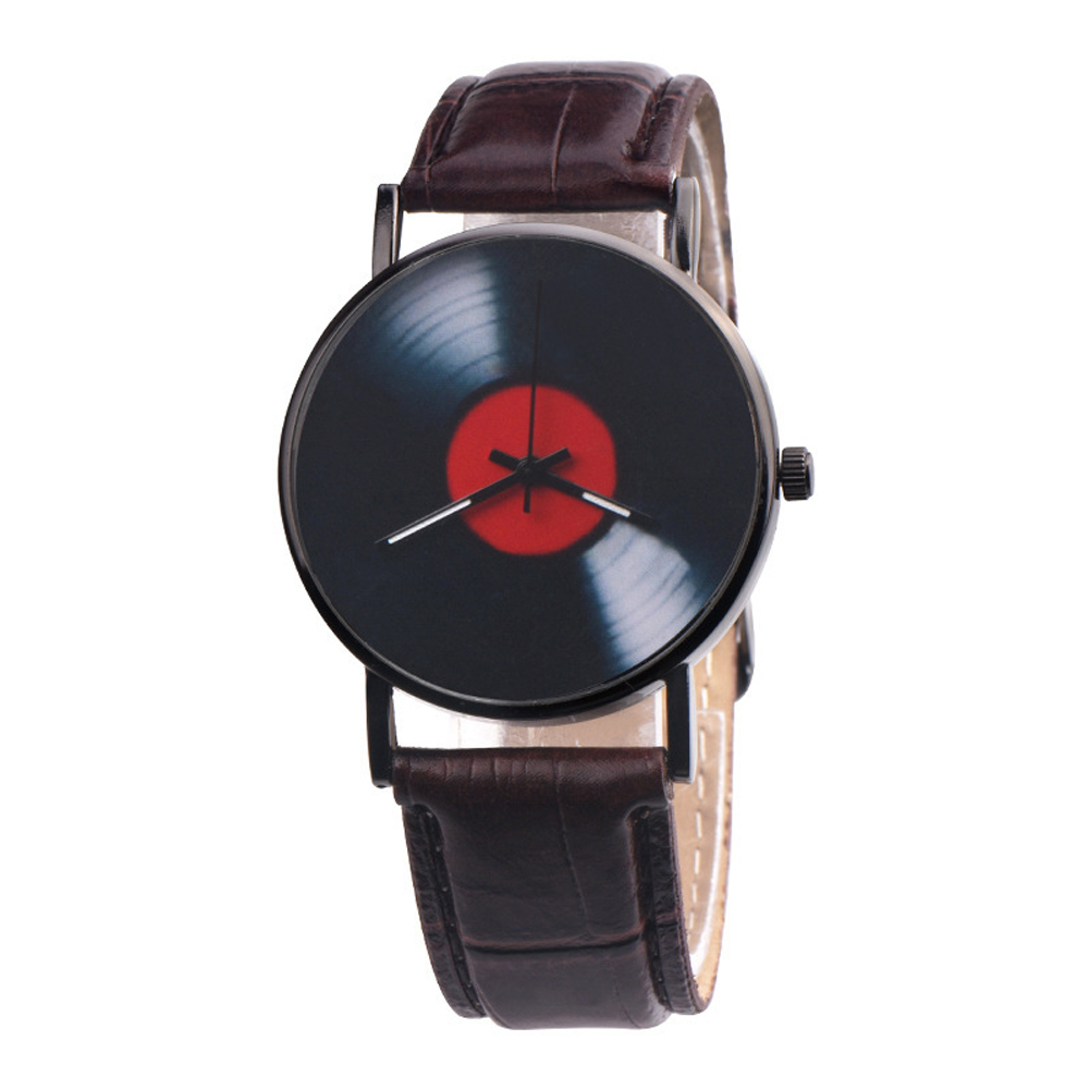 Men's Wristwatch Simple Style  Record Modeling Fake Leather Quartz Watch brown