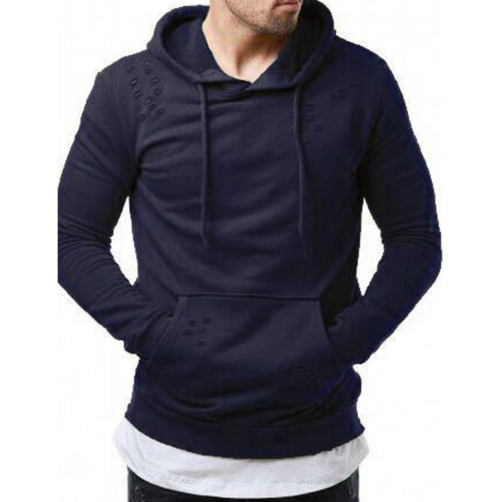 Pure Color Leisure Hole Fashion Men Side zipper Sweatershirt Navy blue_2XL