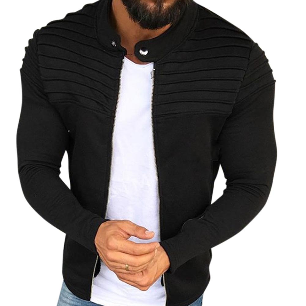 Men Fashion Solid Color Striped Tops Zipper Closure Casual Jacket  black_L