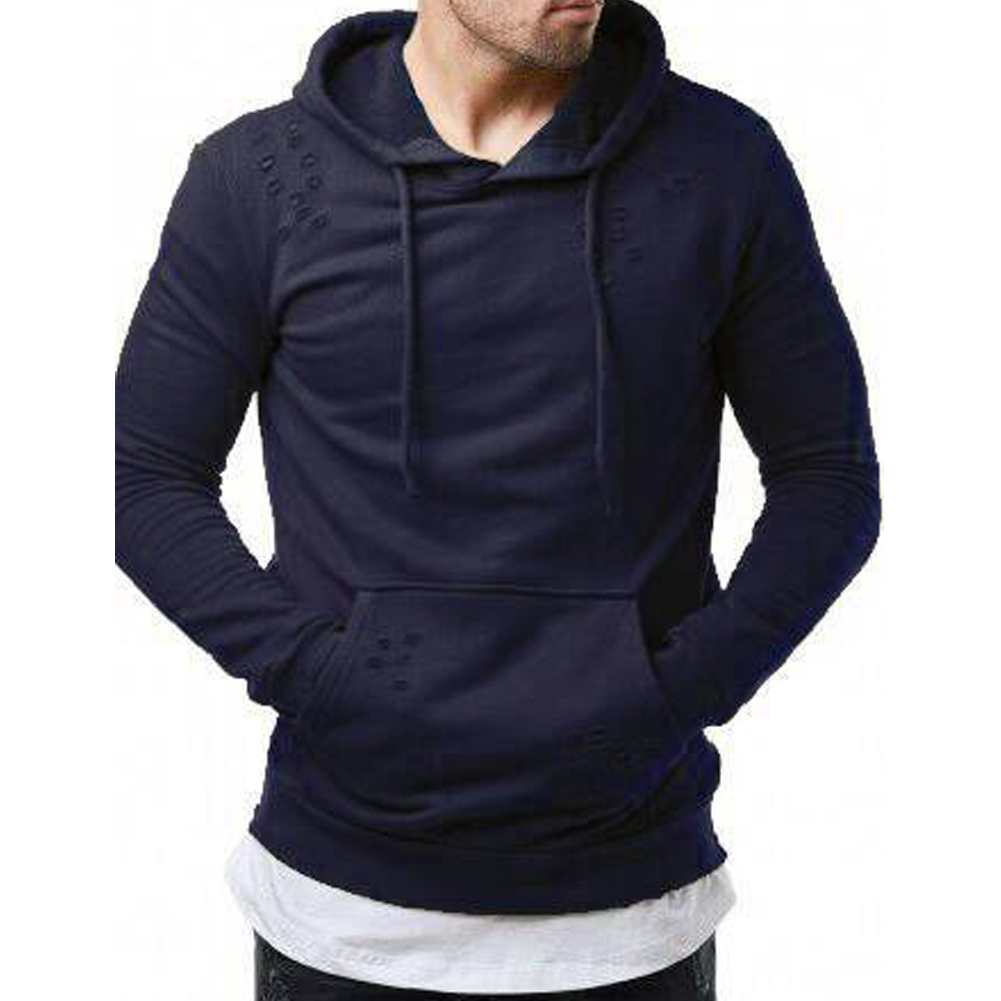 Pure Color Leisure Hole Fashion Men Side zipper Sweatershirt Navy blue_XL
