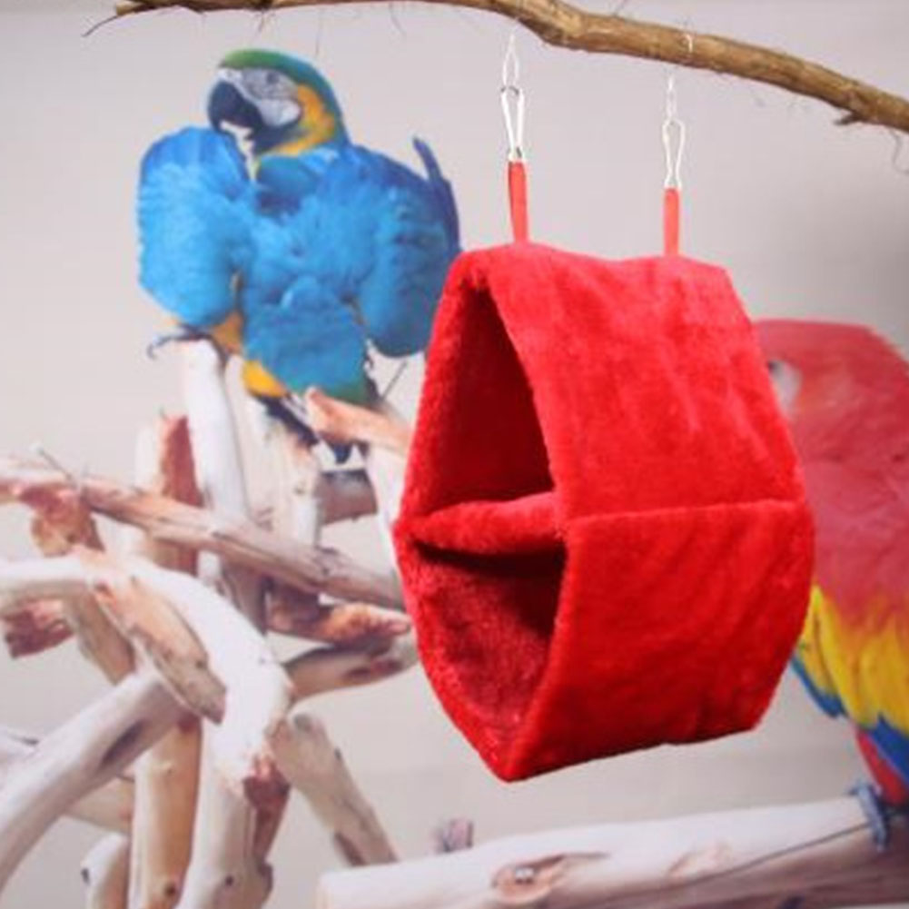 Double Layer Plush Nest Parrot Bird Hammock with Hanging Hook for Pet bright red_25*15*33