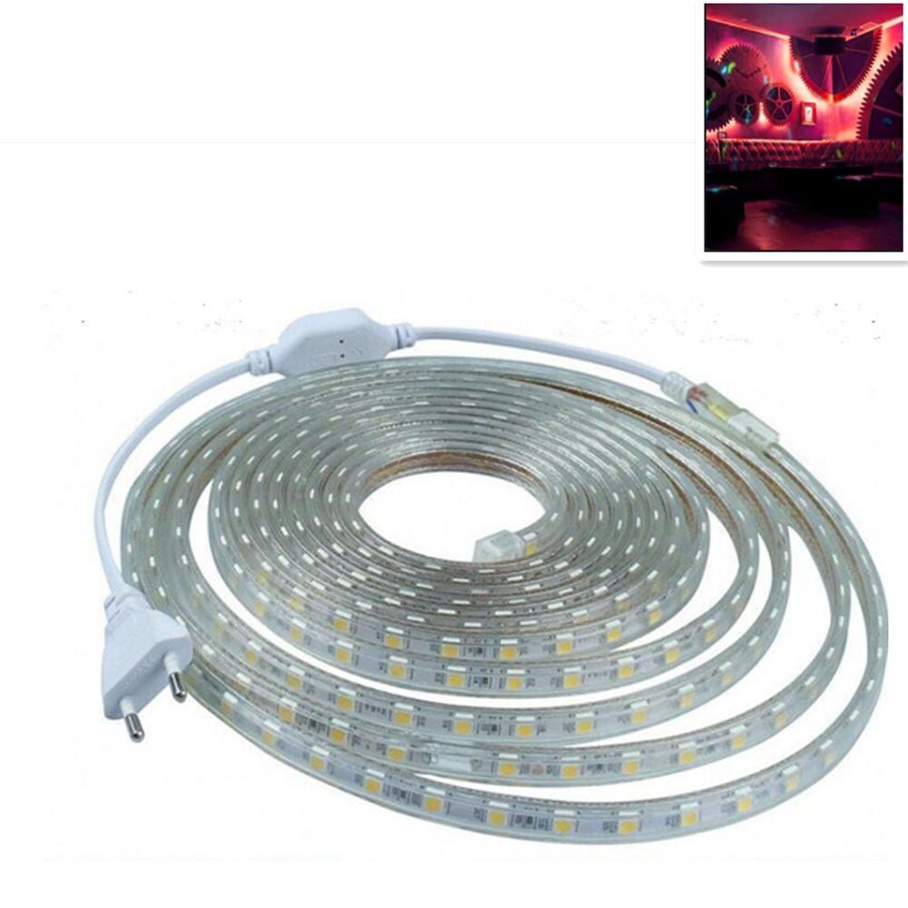 220V 5050 SMD High-voltage LED String Lights IP67 Waterproof Lamp Wedding Party Festivals Decoration Red light_220V Euro plug