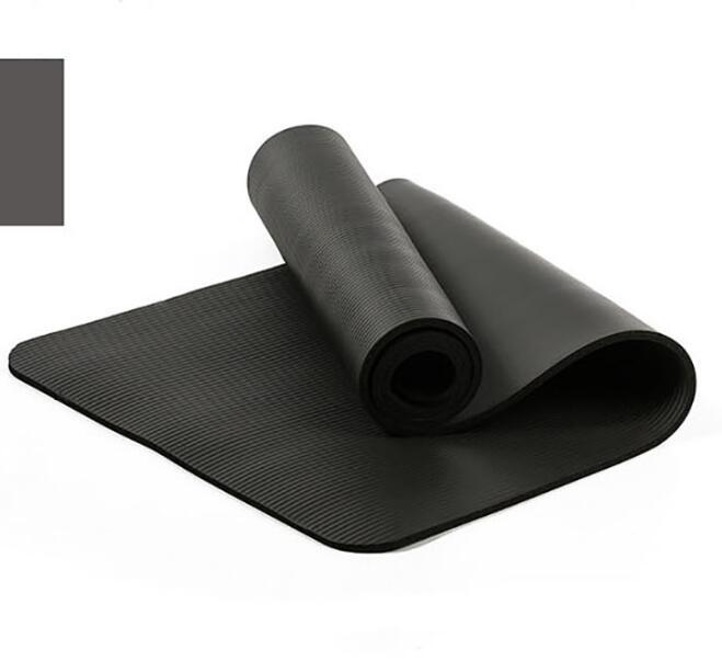 10mm Yoga Mat Workout Elastic Non-slip Fitness Gymnastics Mat Thick Knee Exercise Pad Accupressure Mat black_183 * 61 * 1.0cm
