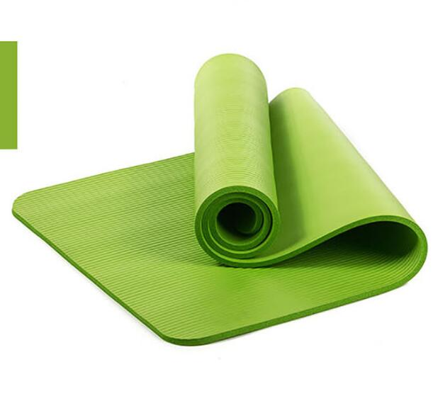 10mm Yoga Mat Workout Elastic Non-slip Fitness Gymnastics Mat Thick Knee Exercise Pad Accupressure Mat green_183 * 61 * 1.0cm