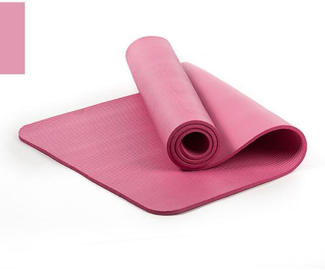 10mm Yoga Mat Workout Elastic Non-slip Fitness Gymnastics Mat Thick Knee Exercise Pad Accupressure Mat Pink_183 * 61 * 1.0cm