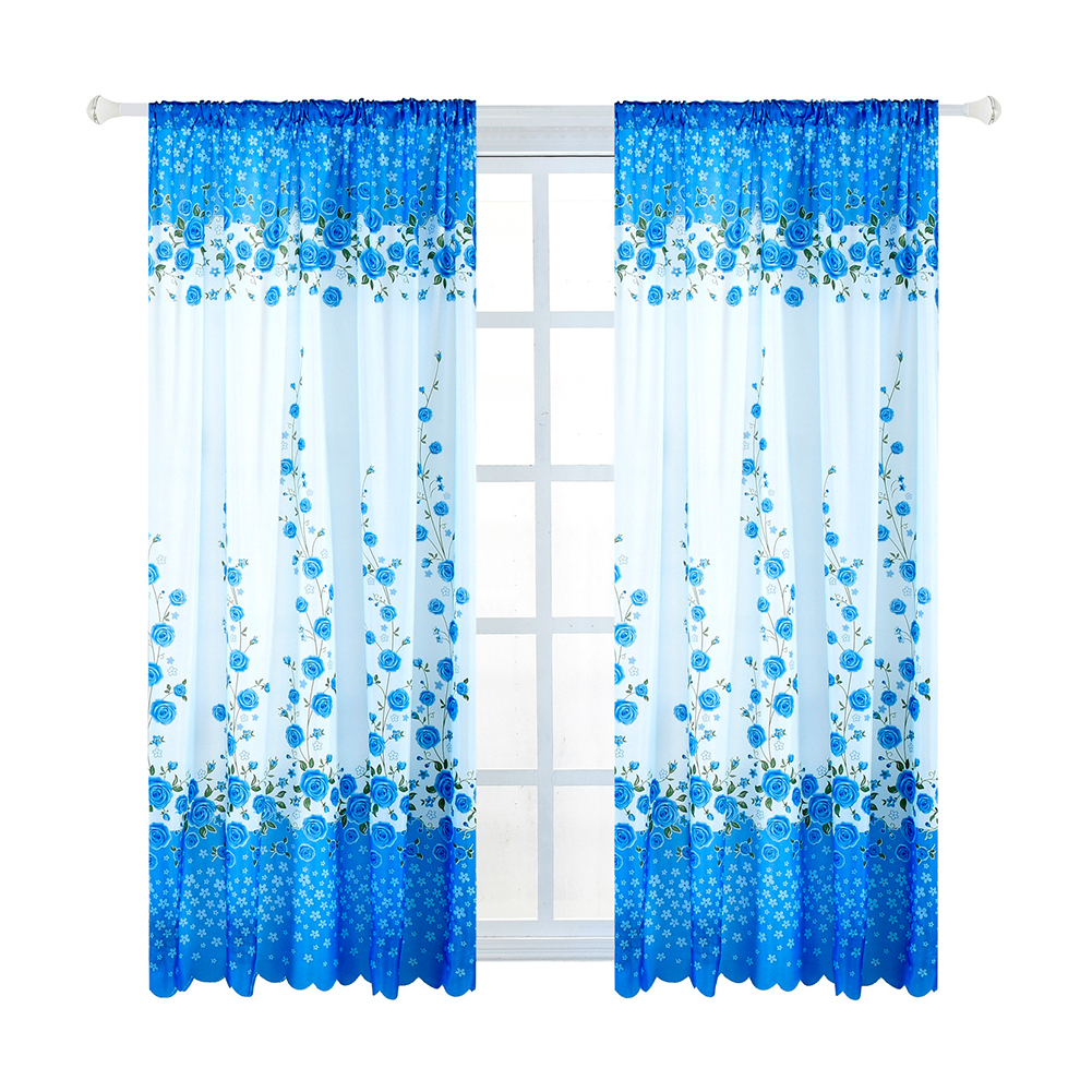 Home Curtain Rose Flower Priting Short Window Screen for Living Room Decoration blue_100*200cm wear rod