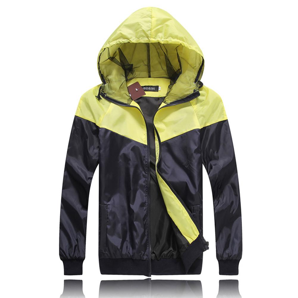Men Fashion Autumn Thin Hooded Casual Slim Jacket Tops Coat yellow_M