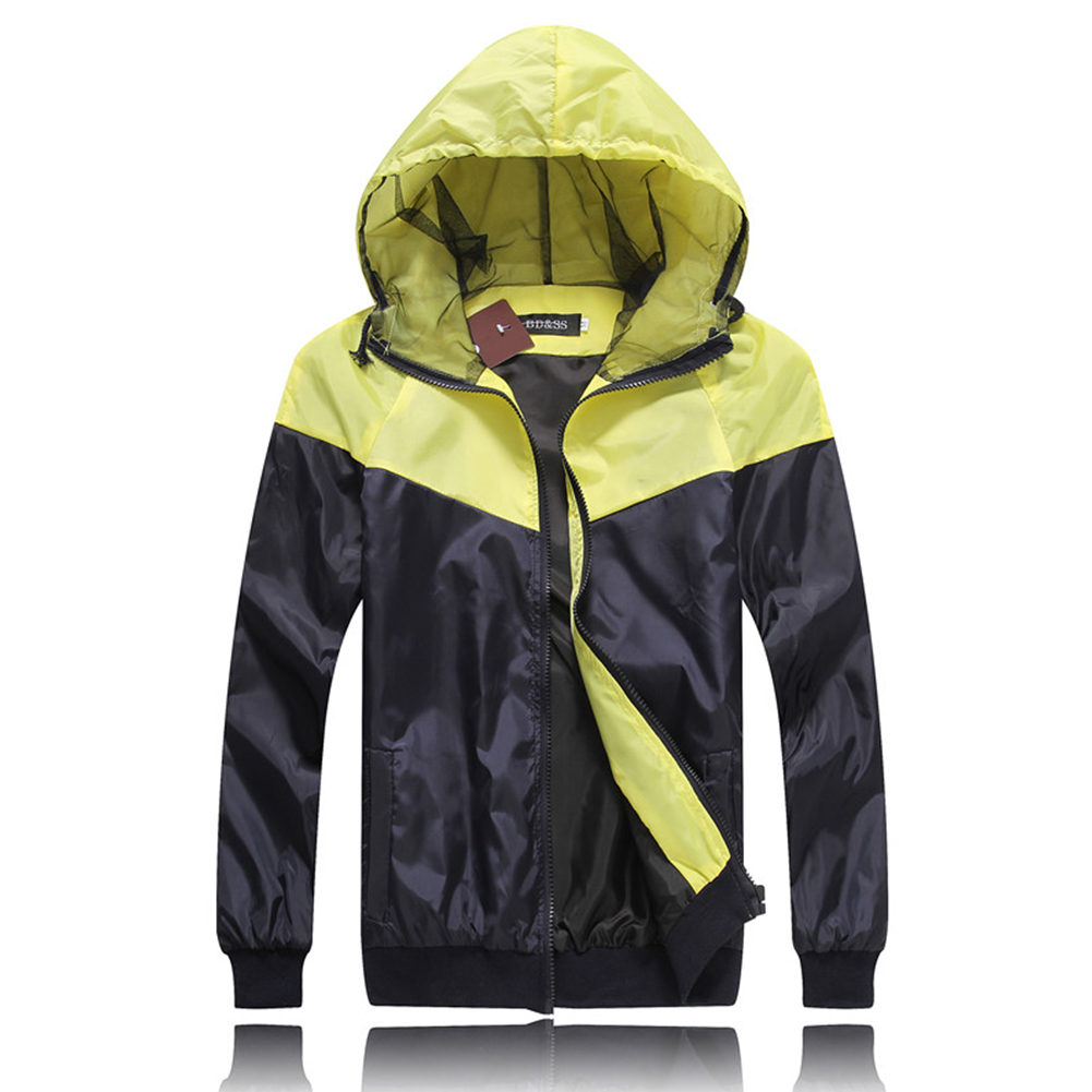 Men Fashion Autumn Thin Hooded Casual Slim Jacket Tops Coat yellow_L