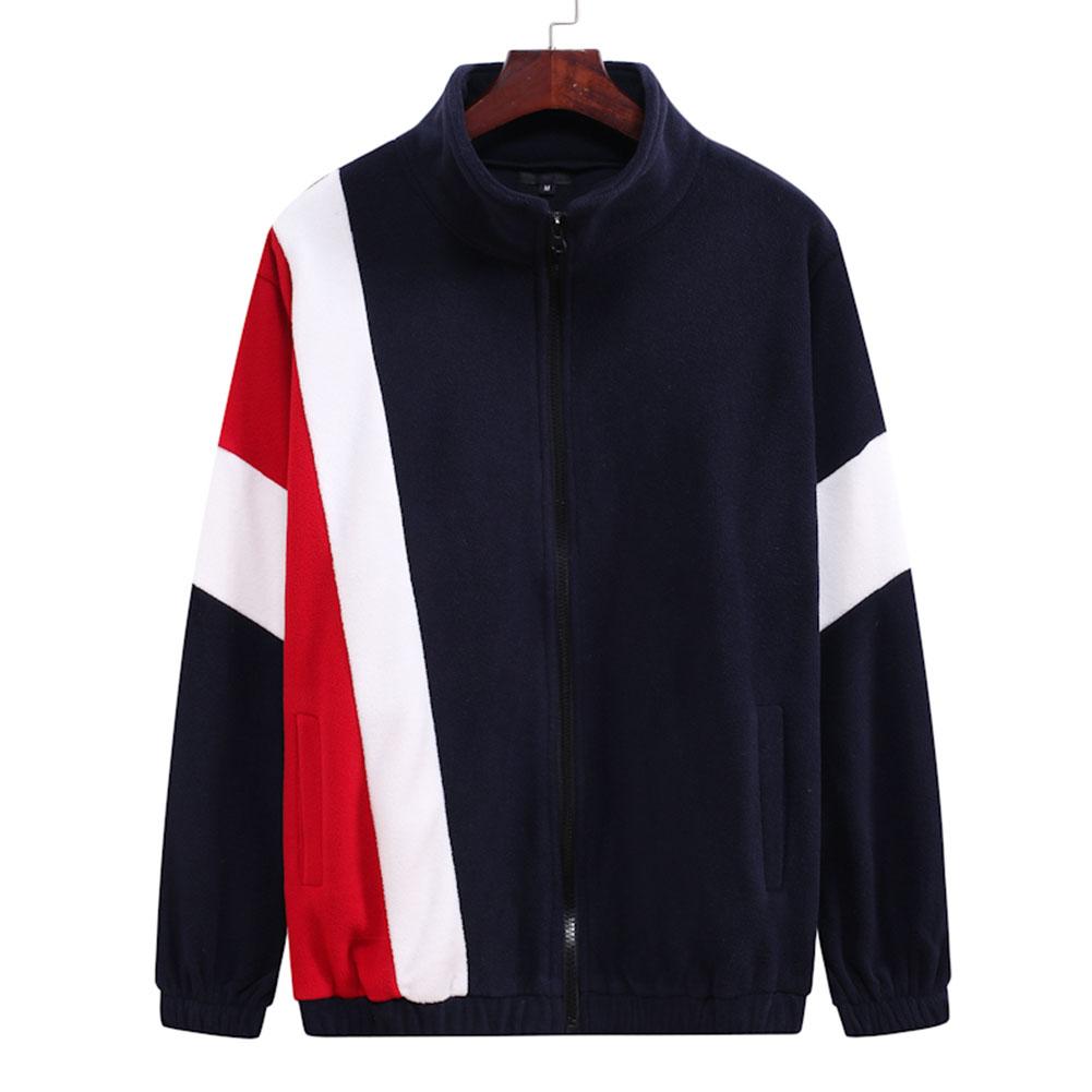 Men's Jacket Autumn and Winter Three-color Splicing Casual Sports Coat Navy_3XL