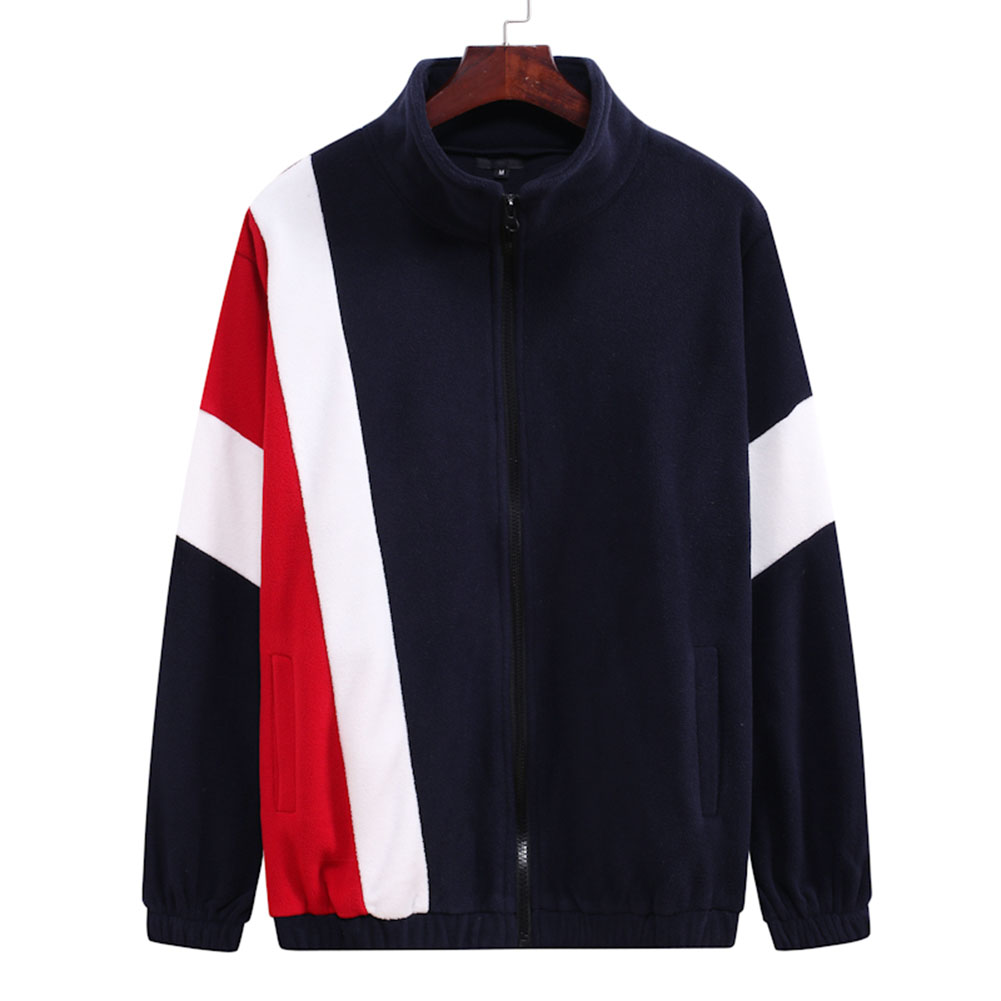 Men's Jacket Autumn and Winter Three-color Splicing Casual Sports Coat Navy_XL