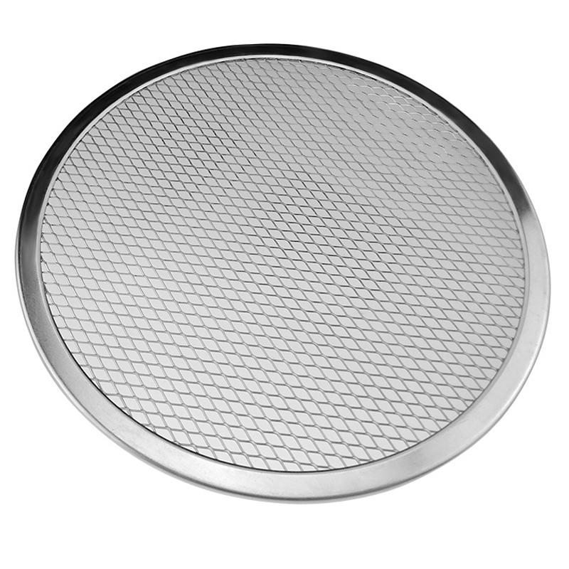 Round Aluminium Pizza Screen Non-stick Reusable Mesh Baking Crisping Tray Bakeware Plate Pan Net  8 inch