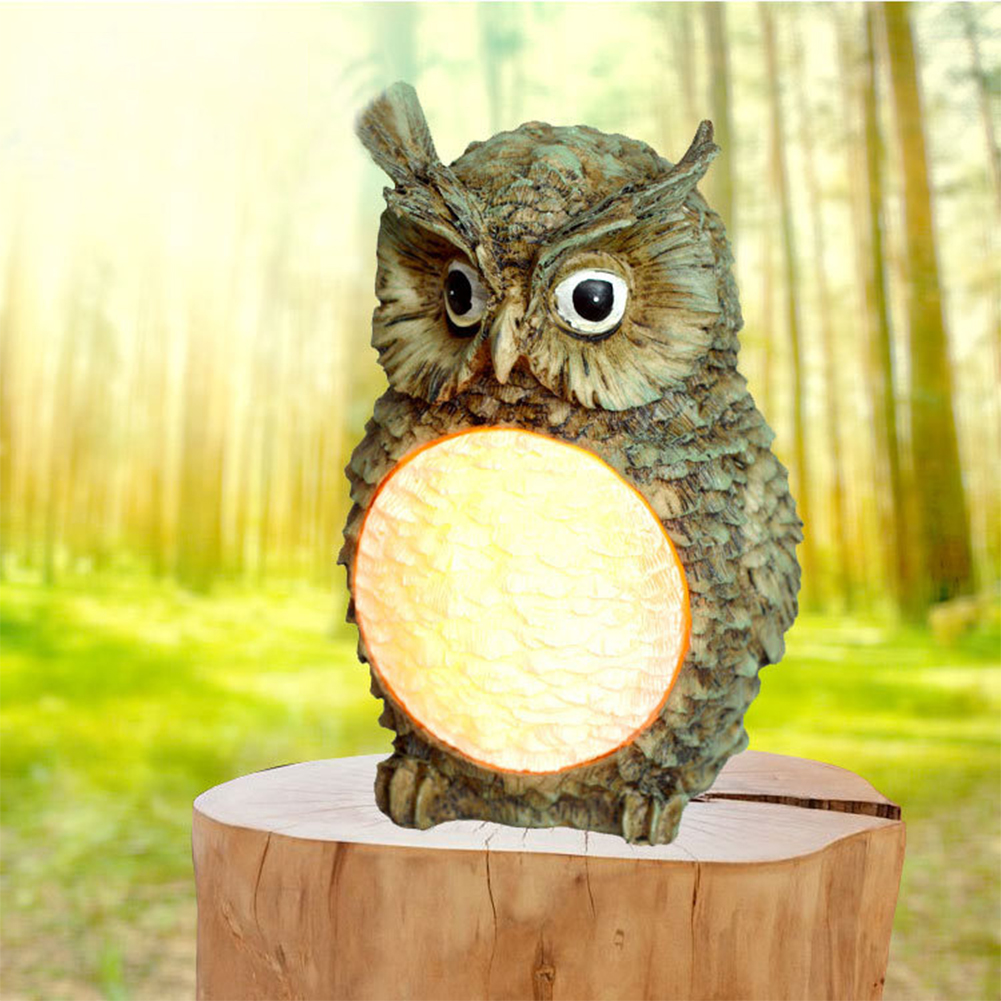LED Solar Powered Cute Owl Shape Resin Lawn Lamp for Outdoor Decorative Lighting
