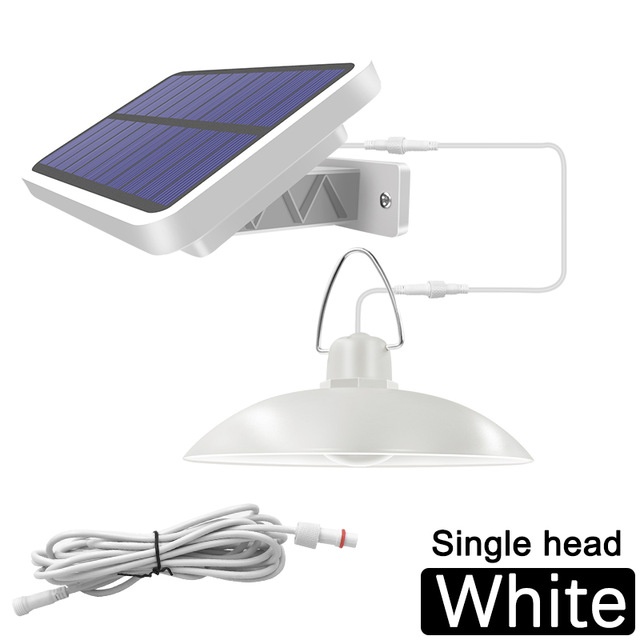 16LEDs Solar Pendant Light Outdoor Indoor Hanging Waterproof Decoration Lamp for Garden Yard Patio White light_White shell