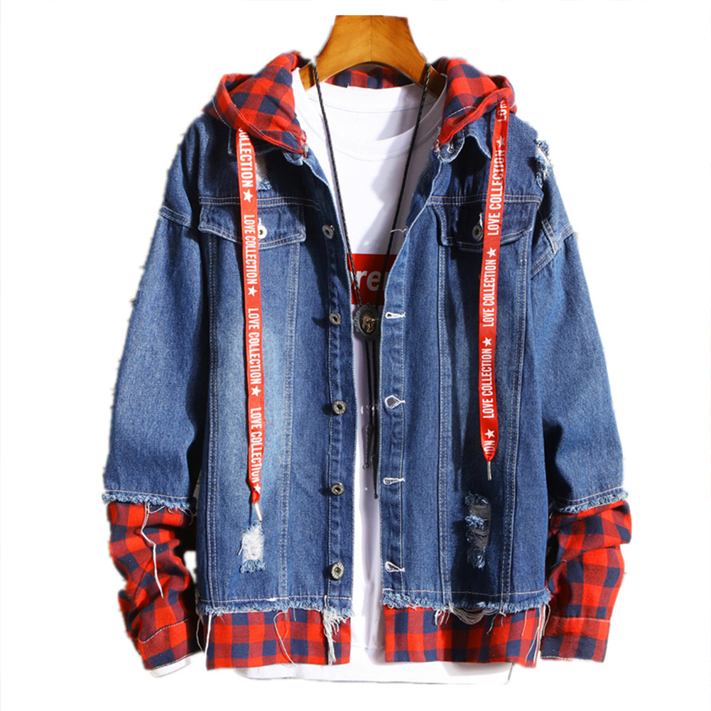 Men Fake Two Pieces Denim Jacket Plaid Short Fashion Coat  260 red plaid - dark blue_XL
