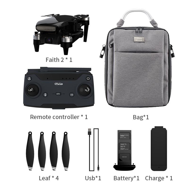 Foldable Cfly C-fly Faith2 4k Camera Drone 3-axis  Gimbal  35min  Flight  Time Black 2 batteries