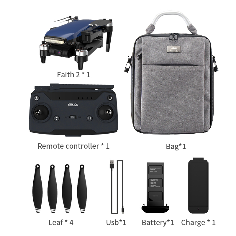 Cfly  Faith2 Foldable 4k  Camera Drone With  3-axis  Gimbal 35min  Flight  Time Blue 1 battery