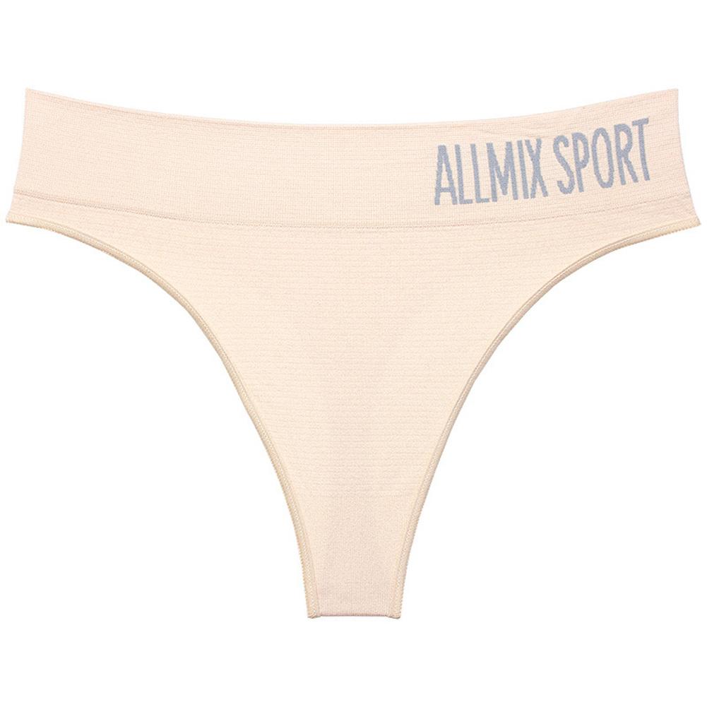 Women Sexy Mid Waist String Sport Panties Cotton Underwear Women Fashion Thong Seamless Lingerie Tanga Underwear Flesh_L