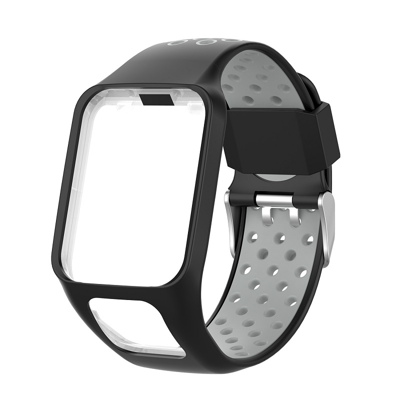 Replacement Silicone Pure Color Watch Strap For TomTom Runner 2 / 3 Breathable Band for Golfer2 Adventunrer Universal Sport Smart Watch Wristband Watch Accessories dark grey