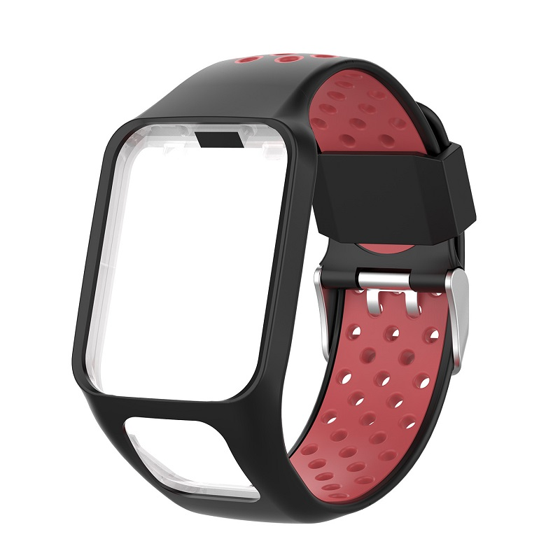 Replacement Silicone Pure Color Watch Strap For TomTom Runner 2 / 3 Breathable Band for Golfer2 Adventunrer Universal Sport Smart Watch Wristband Watch Accessories Black red